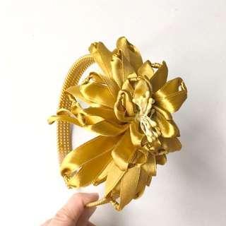 Gold yellow flower headband #MY1212