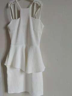 Peplum White Scuba Dress