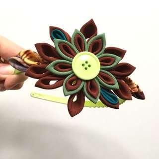 Green flower headband #MY1212