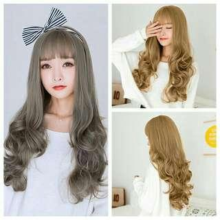 Womens wig long wavy curly hair cosplay party