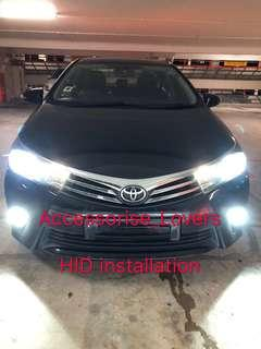 Hid installation on Toyota Altis  and led pole light installation     Suitable for Nissan Toyota Vios Altis Camry Volkswagen scirocco Jetta Golf Passat Mercedes c200 c180 Honda Civic Crossroad mazda 3
