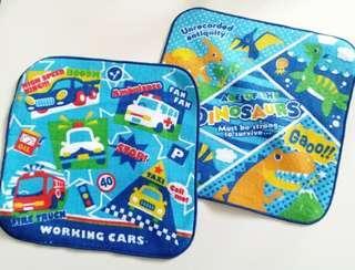 2件 汽車+恐龍純棉毛巾 手巾仔 兒童手帕 20×20cm