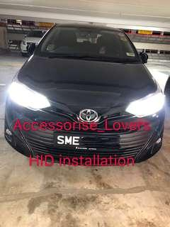 Hid installation on 2018 Toyota vios  and led pole light installation     Suitable for Nissan Toyota Vios Altis Camry Volkswagen scirocco Jetta Golf Passat Mercedes c200 c180 Honda Civic Crossroad mazda 3