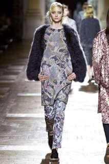 Dries Van Noten Fall 2013 Wool Dress with Silver Threads