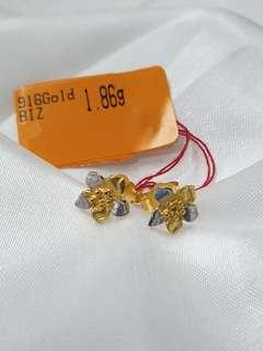 916 Gold 2 Tone Orchid Earring