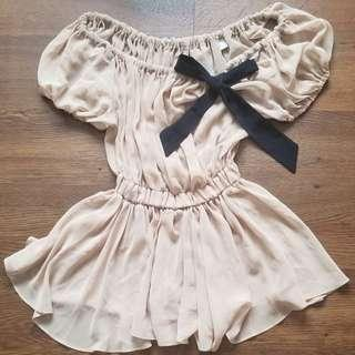 Brown Beige Top with Black Bow