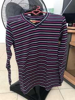 Fit body shirt list garis garis