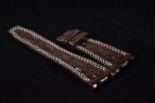 28/20mm AP ROO Dark Brown Crocodile Small Hornback Leather Strap