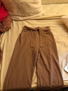 Straight Leg Pinkish/nude dress pant with tie