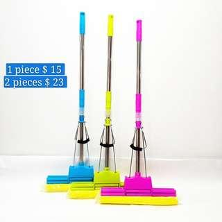 Absorbent sponge retractable mop large roller type rubber-covered mop head free of hand-washing mop