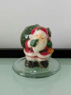 [New] Santa Claus Candle & Glass Candle Holder set聖誕蠟燭連玻璃燭碟