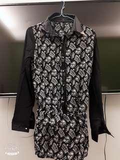 🚚 【新】皇冠圖騰鬆緊腰雪紡襯衫