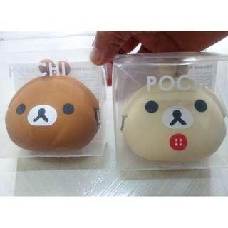 [包平郵]全新日本 sanrio pochi 矽膠散紙包 鬆弛熊 rilakkuma
