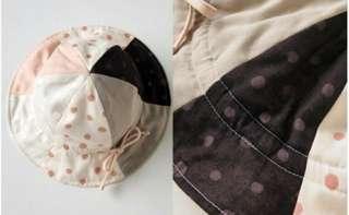 🚚 [二手近全新]日本製 Hoppetta 旗下 Naomi Ito 粉彩波點拼貼鬱金香帽(粉紅)