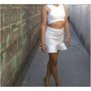 White crop top and skirt