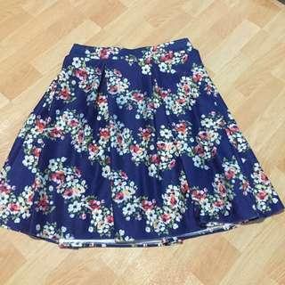Blue Floral Midi-Skirt