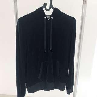H&M Black Velvet Hoodie Jaket Hitam Velour