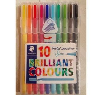 [包平郵]全新德國 施德樓 staedtler triplus fineliner 10色 brilliant colours 針筆