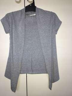 Gray Short-Sleeve Cardigan
