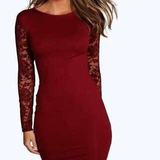 Forever 21 Red Wine Lace Long Sleeve Bodycon Dress Maroon Lengan Panjang