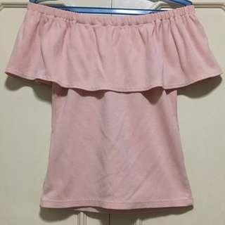 Baby Pink Bodycon Off Shoulder Top