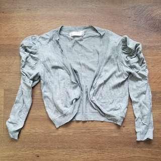 Grey Puffed Shoulders Cardigan
