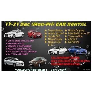 17 - 21 Dec (Mon-Fri) CAR RENTAL SERVICES