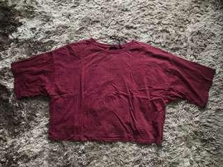 factorie maroon cropped tee