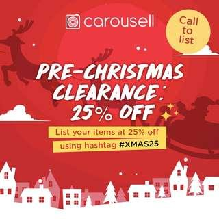 Pre-Christmas Clearance: 25% Off