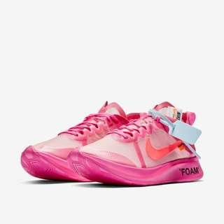 🚚 🔥 In Stock🔥 US4.5/5/5.5/6.5/7/7.5 Nike Off White Zoomfly Pink