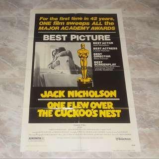 One Flew Over The Cuckoo's Nest Original US One 1 Sheet Movie Poster 1975 Major Academy Awards Winner Jack Nicholson Louise Fletcher Milos Forman