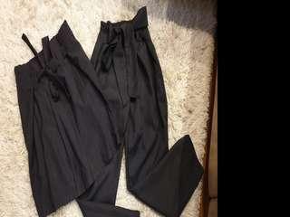 Navy Tie Waist Pants and Skirt Bundle