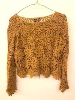 ❗️($100/4) 全新黃色上身 yellow lace top (brand new)