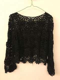❗️($100/4)(brand new) Black laced top 全新 黑色上衣