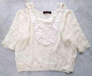 女裝上衣針織鏤空露肩蝙蝠袖衫