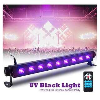 P12 SOLMORE UV Black Light Bar 27W 9LEDs Flood Light DJ Blacklight for Glow Party Stage Club Disco Halloween Show AC100-240V (with Remote)