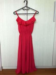 Red chiffon long dress