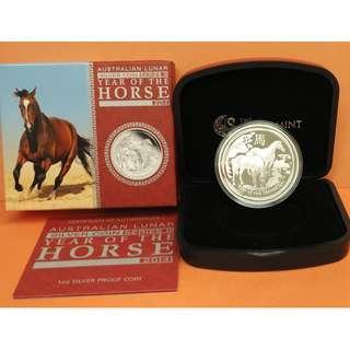 (精鑄幣)2014年澳洲農曆生肖系列 — 馬年(Lunar Year of Horse) 1盎司紀念銀幣(附原盒、原證)