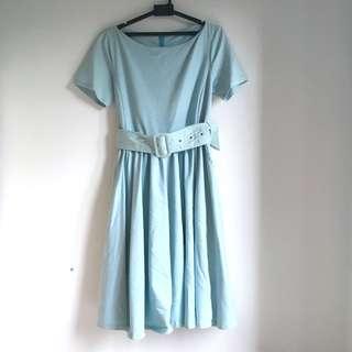 Full Skirted Boat Neck English Style Dress #MY1212