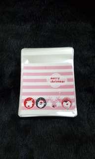 NEW 40pcs Pink Stripes Xmas Design Self-Adhesive Souvenir Cookie or Candy Plastic Pouch 10cm