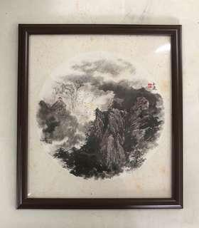 L1 Chinese Art Painting by Singapore Famous Artist Lee See Tong 我国名书画家 李士通老师 圆形扇面山水画小品