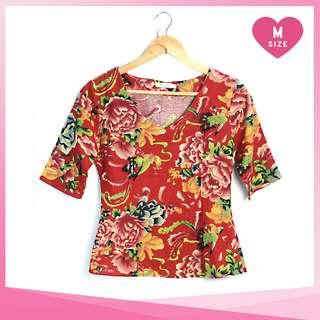 Asian Red Floral Blouse