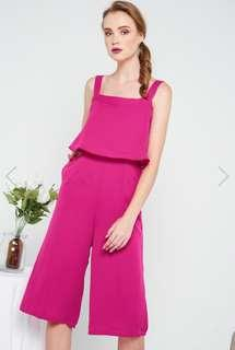 The Stage Walk Zayn Square Neckline Culottes Jumpsuit in Magenta Size M