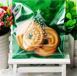 NEW 40pcs I Wish U a Merry Xmas Tree Design Self-Adhesive Souvenir Cookie or Candy Plastic Pouch 10cm