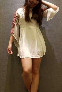 Floral embroidery sleeve romper
