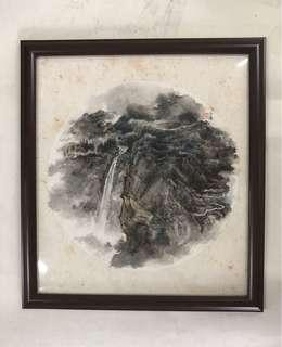 L2 Chinese Art Painting By Singapore Famous Artist Lee See Tong 我国名书画家 李士通老师 圆扇面山水画小品