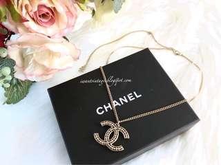 Chanel CC Pendant Necklace-Light Gold