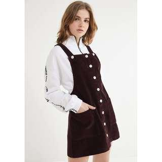 Brand New Corduroy Button-Front Overall Dress