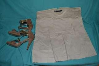Zara Beige Pleated Skirt