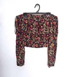 #MY1212 H&M Floral Off Shoulder Crop Top